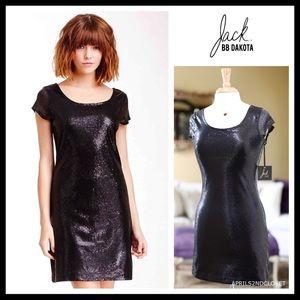 JACK BY BB DAKOTA SEQUIN EMBELLISH BLACK DRESS A2C